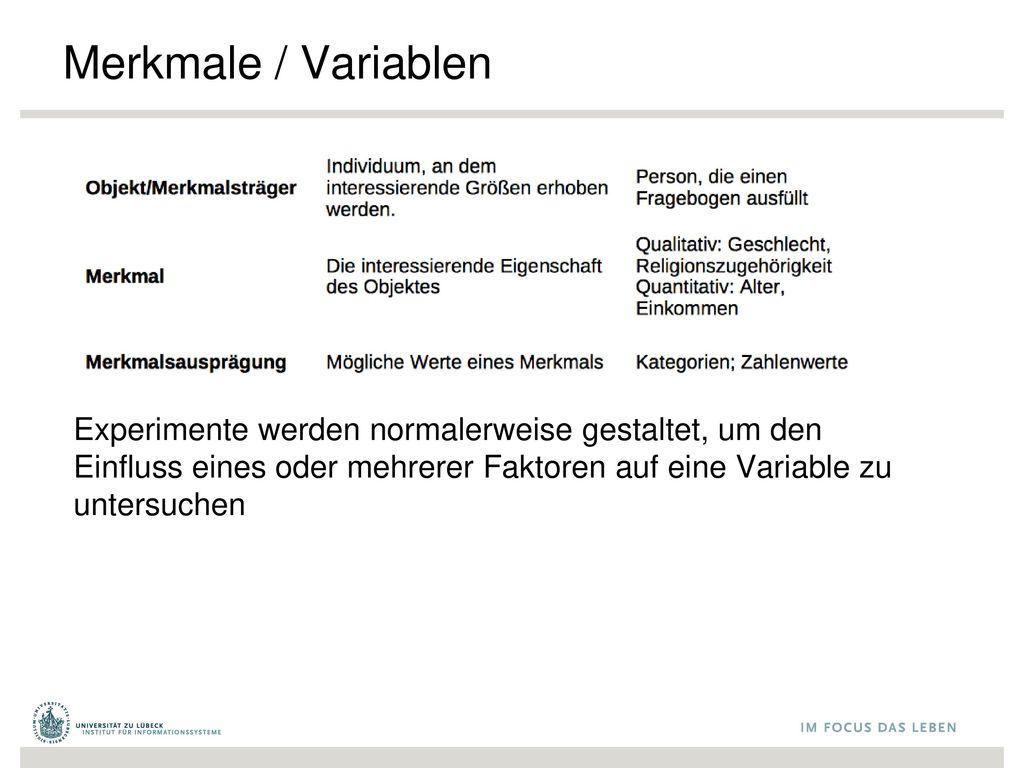 Merkmale / Variablen Experimente werden normalerweise gestaltet, um den Einfluss eines oder mehrerer Faktoren auf eine Variable zu untersuchen.