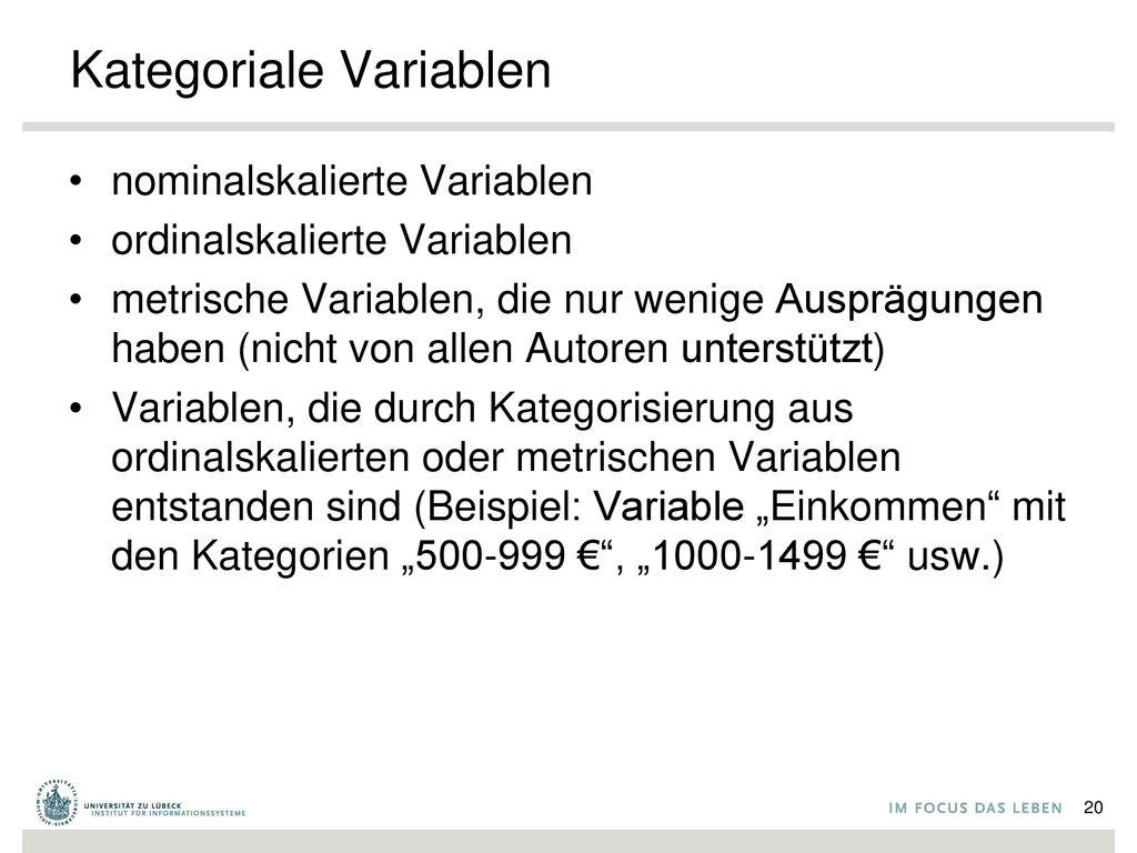 Kategoriale Variablen