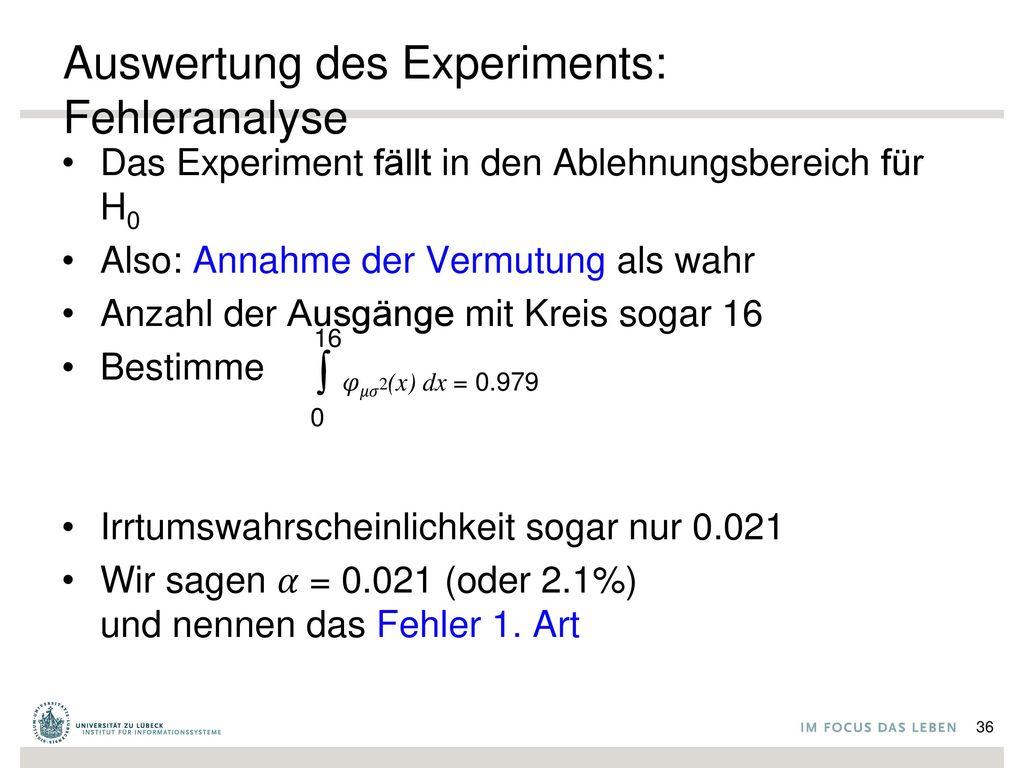 Auswertung des Experiments: Fehleranalyse