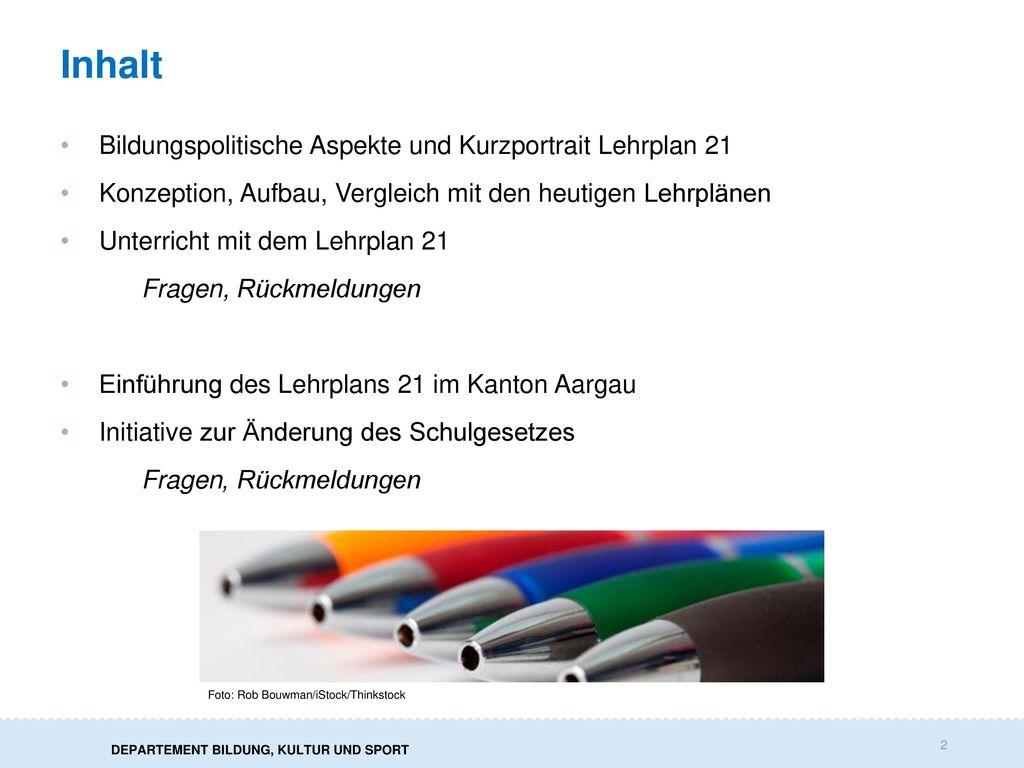 Inhalt Bildungspolitische Aspekte und Kurzportrait Lehrplan 21