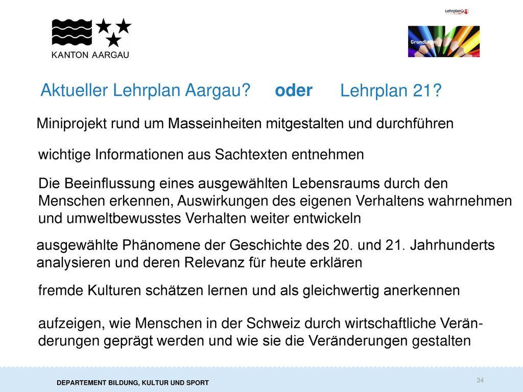 Aktueller Lehrplan Aargau oder Lehrplan 21
