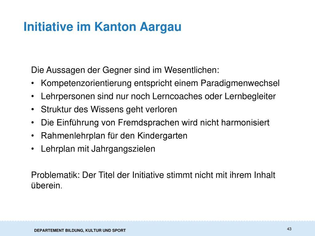 Initiative im Kanton Aargau