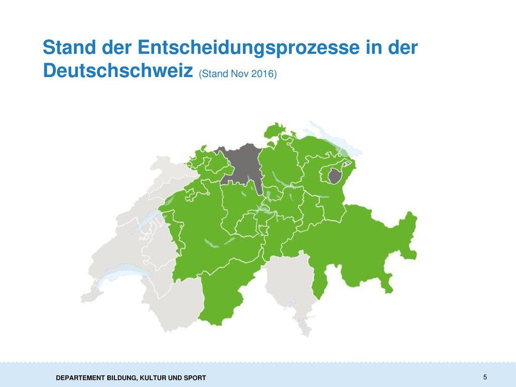 Stand der Entscheidungsprozesse in der Deutschschweiz (Stand Nov 2016)