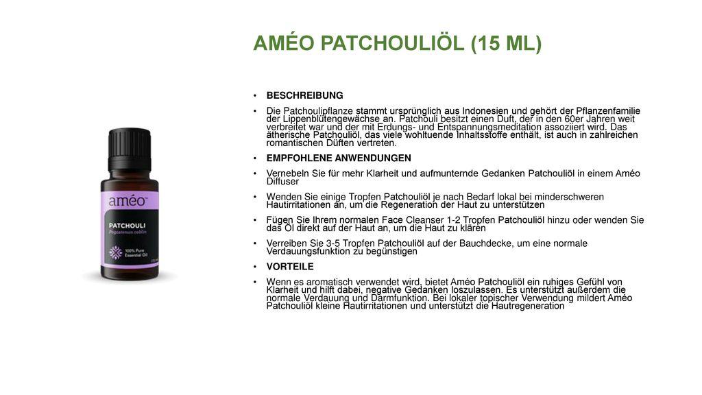 AMÉO PATCHOULIÖL (15 ML) BESCHREIBUNG