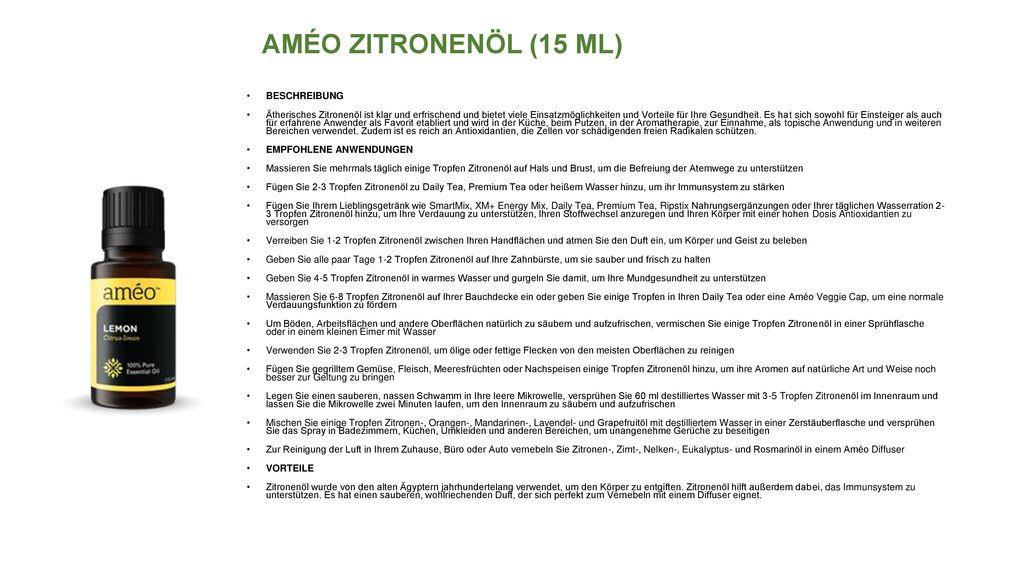 AMÉO ZITRONENÖL (15 ML) BESCHREIBUNG