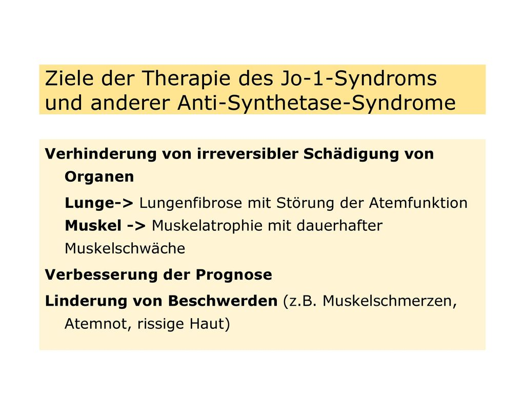 Ziele der Therapie des Jo-1-Syndroms und anderer Anti-Synthetase-Syndrome