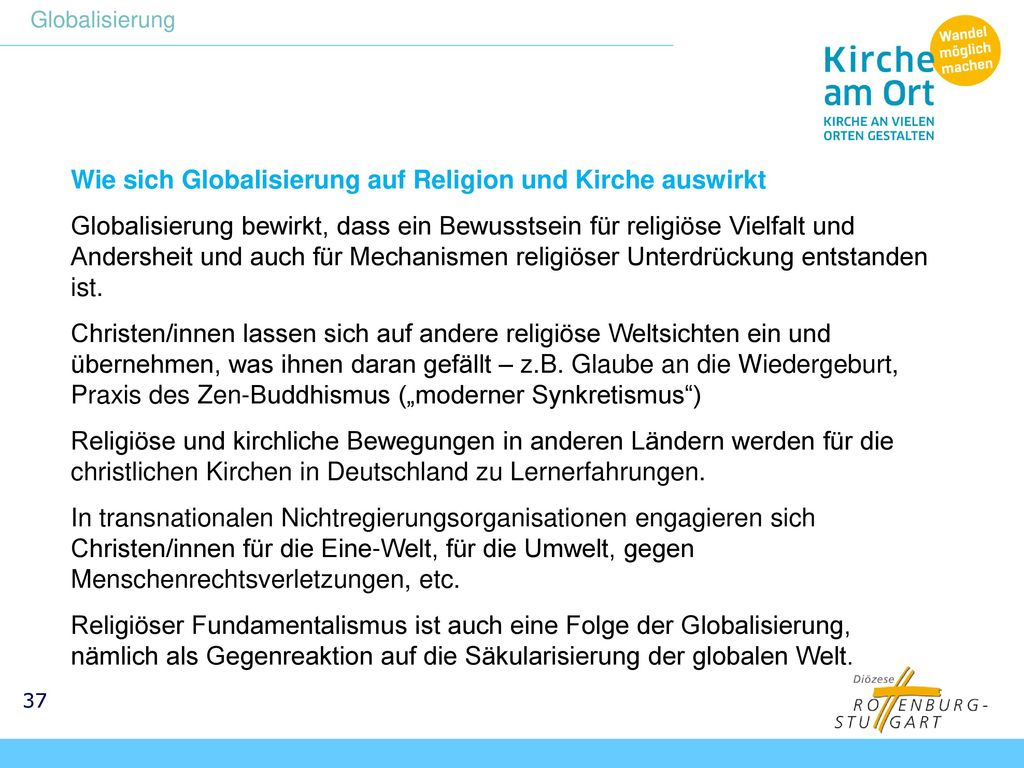 Wie sich Globalisierung auf Religion und Kirche auswirkt