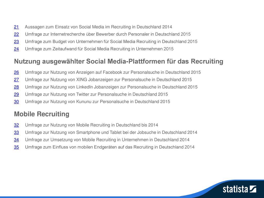 Nutzung ausgewählter Social Media-Plattformen für das Recruiting