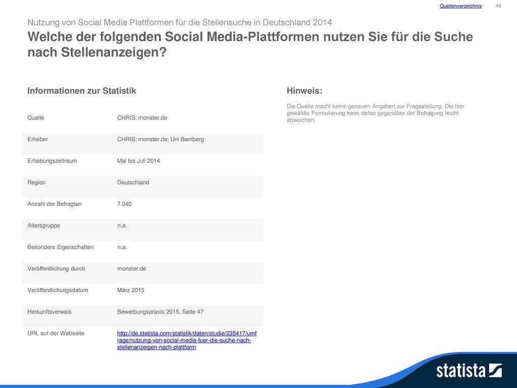 Quellenverzeichnis 49. Nutzung von Social Media Plattformen für die Stellensuche in Deutschland 2014.