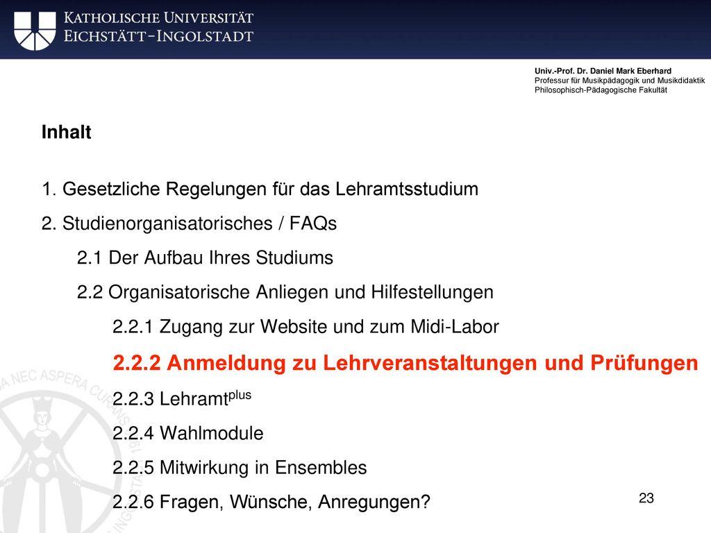 2.2.2 Anmeldung zu Lehrveranstaltungen und Prüfungen
