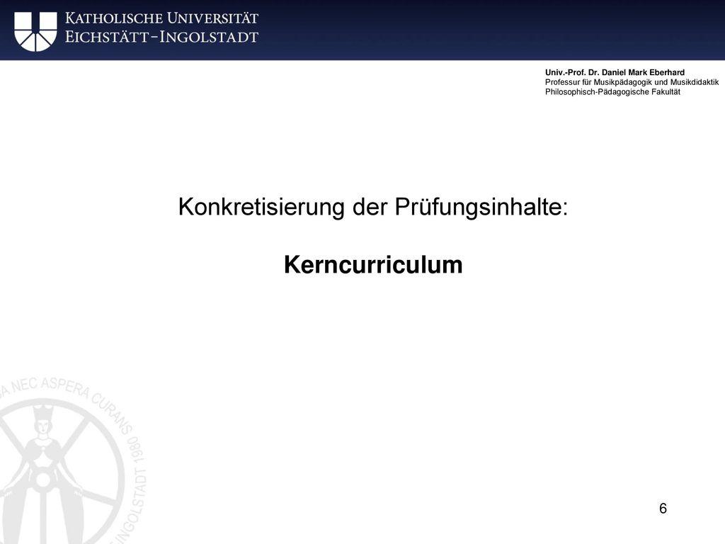 Konkretisierung der Prüfungsinhalte:
