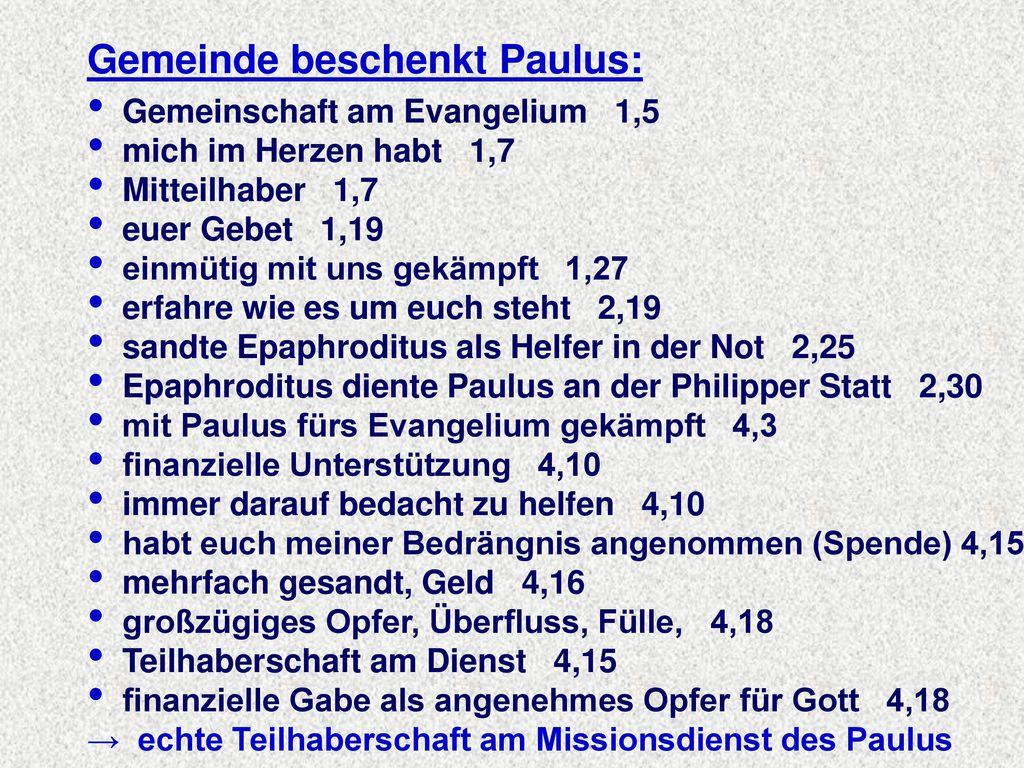 Gemeinde beschenkt Paulus: