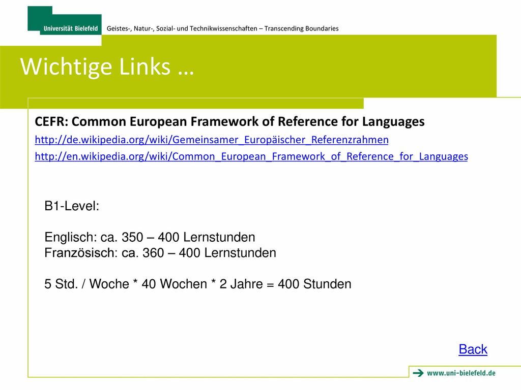 Wichtige Links … CEFR: Common European Framework of Reference for Languages.