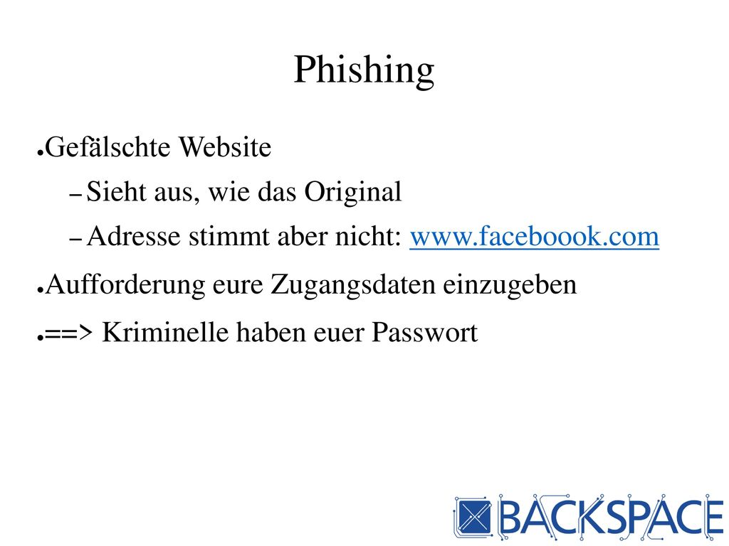 Phishing Gefälschte Website Sieht aus, wie das Original