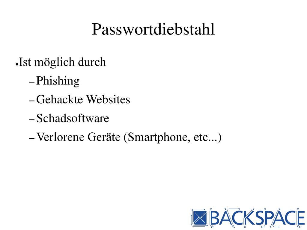 Passwortdiebstahl Ist möglich durch Phishing Gehackte Websites