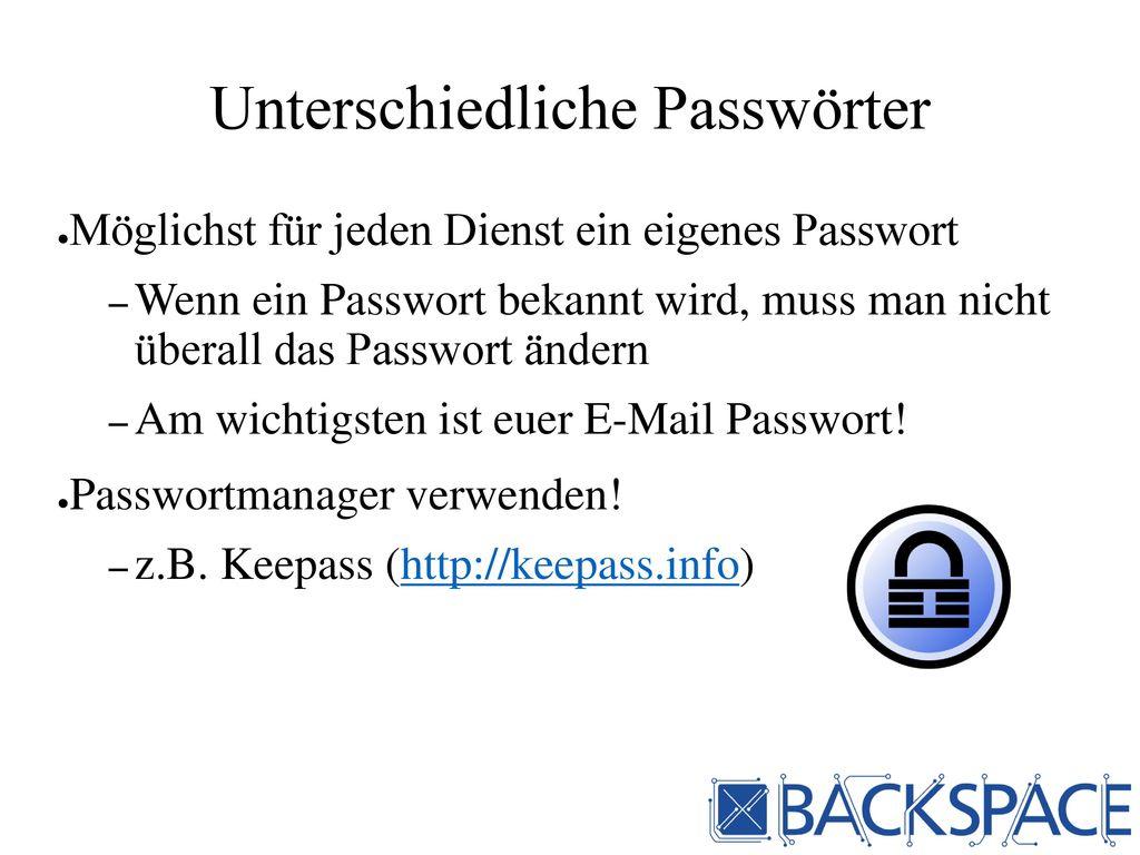 Unterschiedliche Passwörter