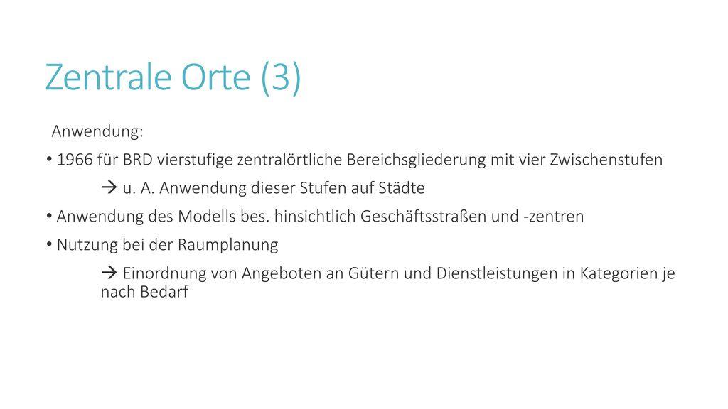 Zentrale Orte (3) Anwendung: