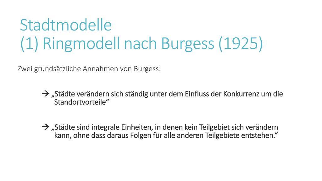 Stadtmodelle (1) Ringmodell nach Burgess (1925)