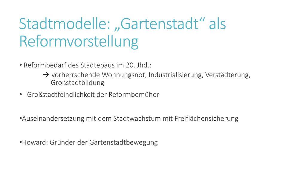 """Stadtmodelle: """"Gartenstadt als Reformvorstellung"""