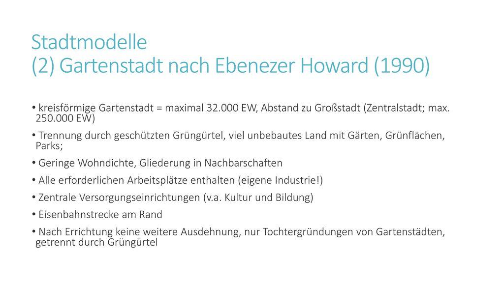 Stadtmodelle (2) Gartenstadt nach Ebenezer Howard (1990)