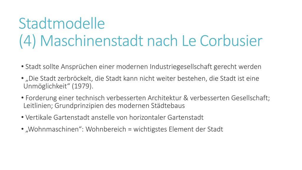 Stadtmodelle (4) Maschinenstadt nach Le Corbusier