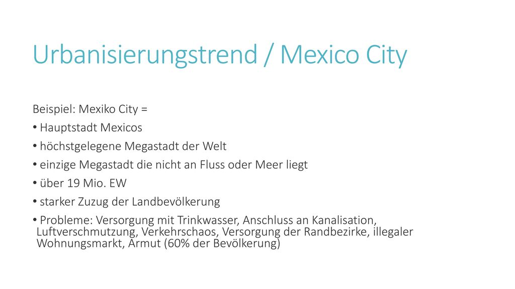 Urbanisierungstrend / Mexico City
