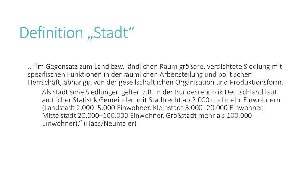 """Definition """"Stadt"""