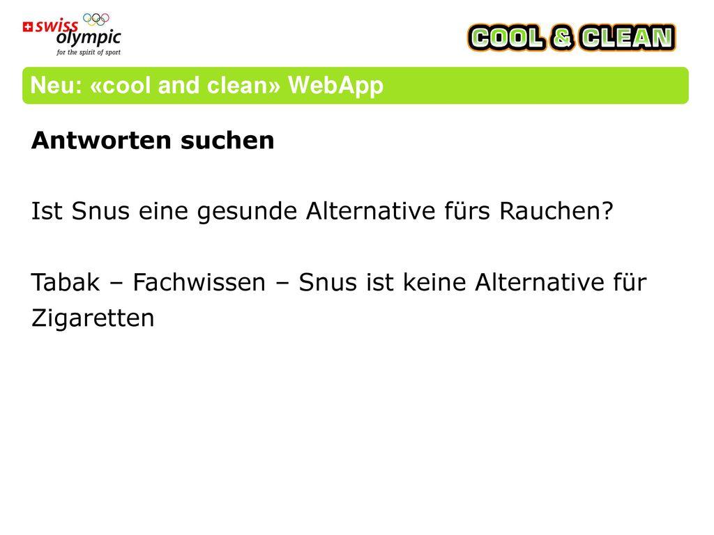 Neu: «cool and clean» WebApp