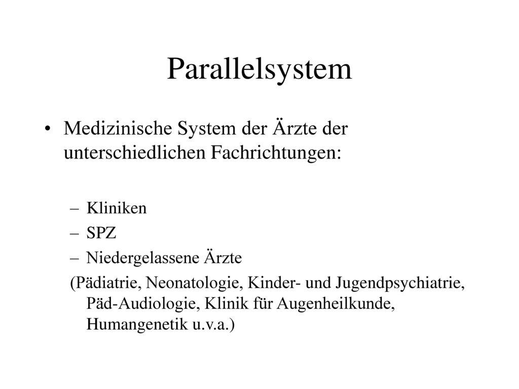 Parallelsystem Medizinische System der Ärzte der unterschiedlichen Fachrichtungen: Kliniken. SPZ.