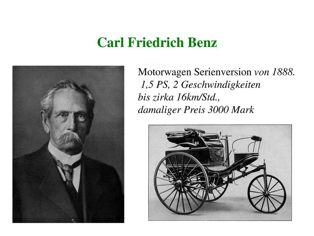 Carl Friedrich Benz Motorwagen Serienversion von 1888.