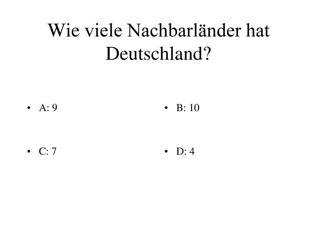 Wie viele Nachbarländer hat Deutschland