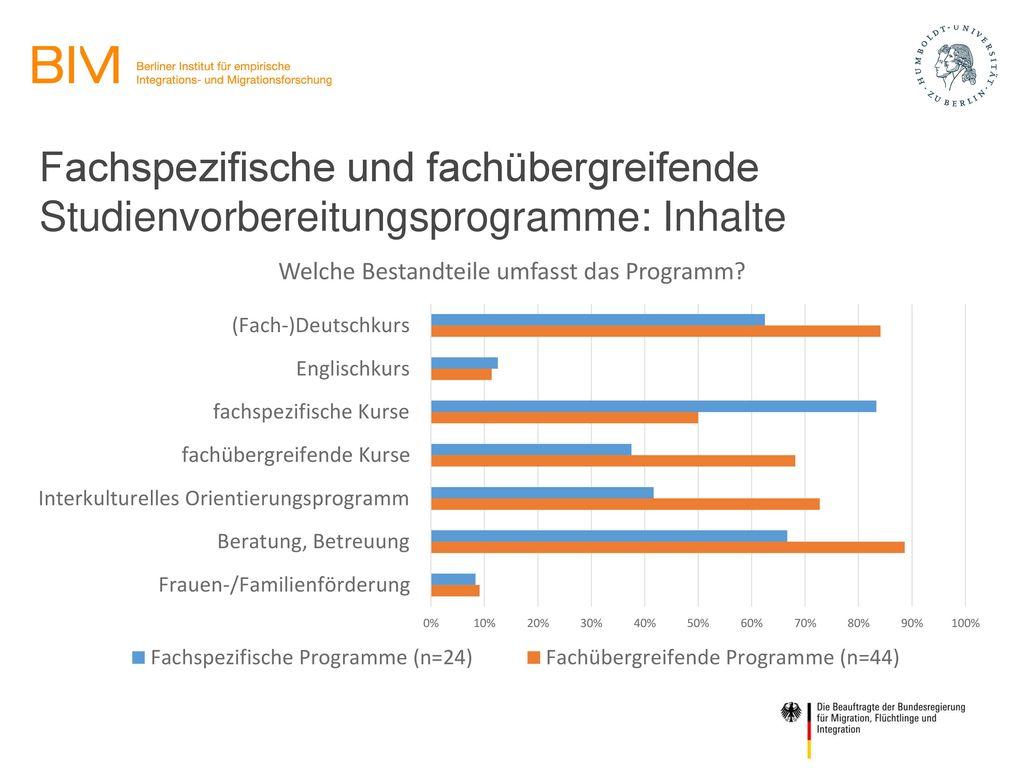 Fachspezifische und fachübergreifende Studienvorbereitungsprogramme: Inhalte