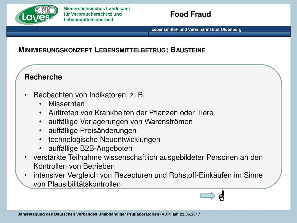  Minimierungskonzept Lebensmittelbetrug: Bausteine Recherche