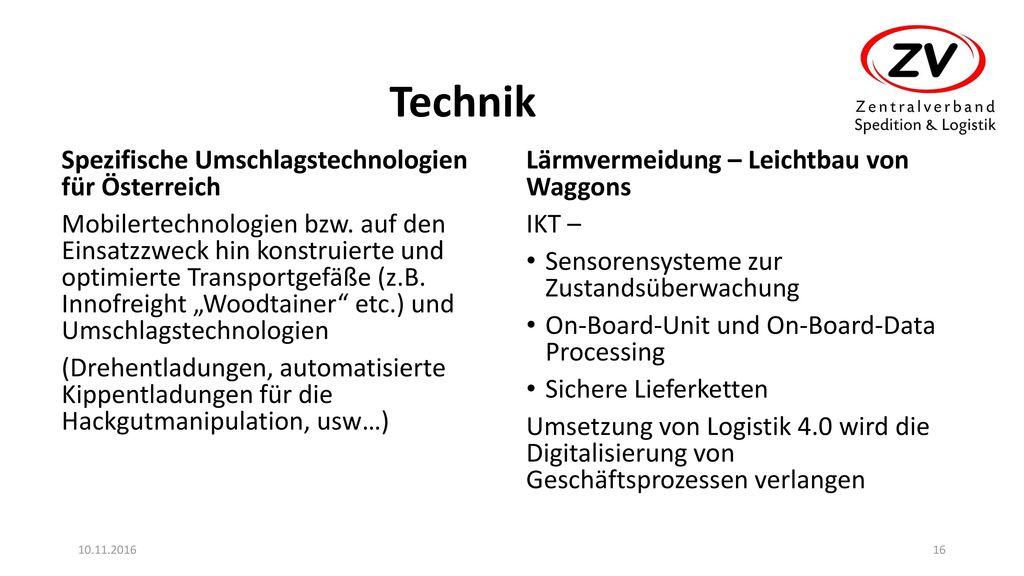 Technik Spezifische Umschlagstechnologien für Österreich