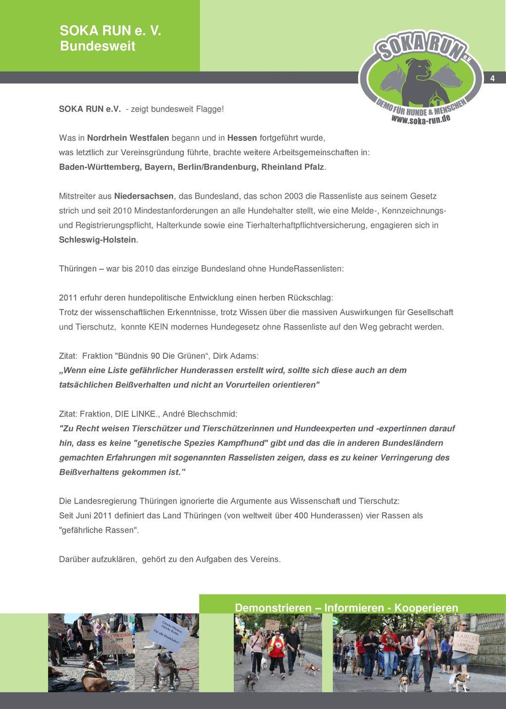 SOKA RUN e. V. Bundesweit Demonstrieren – Informieren - Kooperieren 4