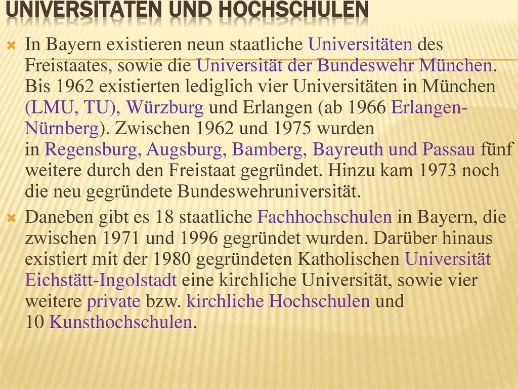 Universitäten und Hochschulen