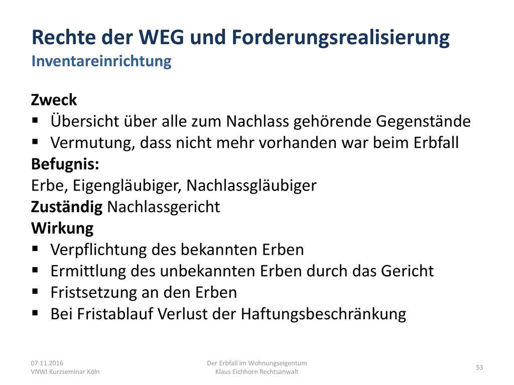 Rechte der WEG und Forderungsrealisierung Inventareinrichtung