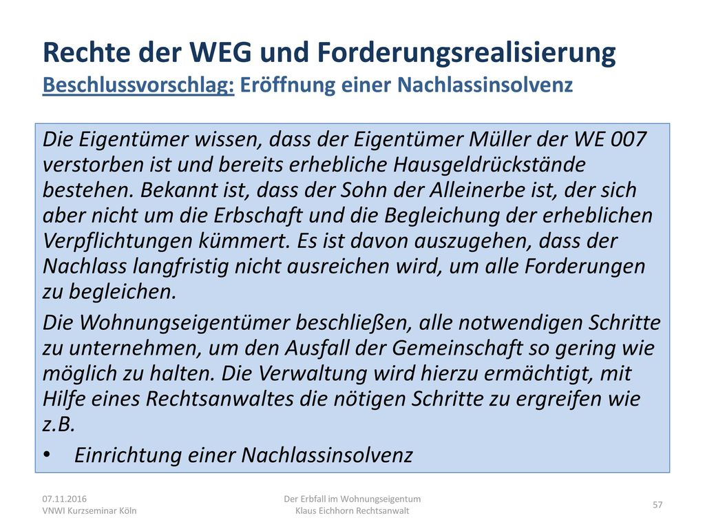 Der Erbfall im Wohnungseigentum Klaus Eichhorn Rechtsanwalt