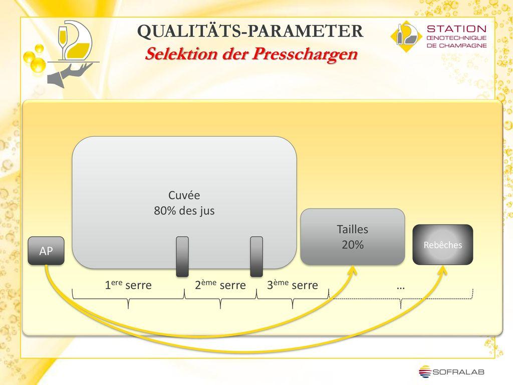 QUALITÄTS-PARAMETER Selektion der Presschargen