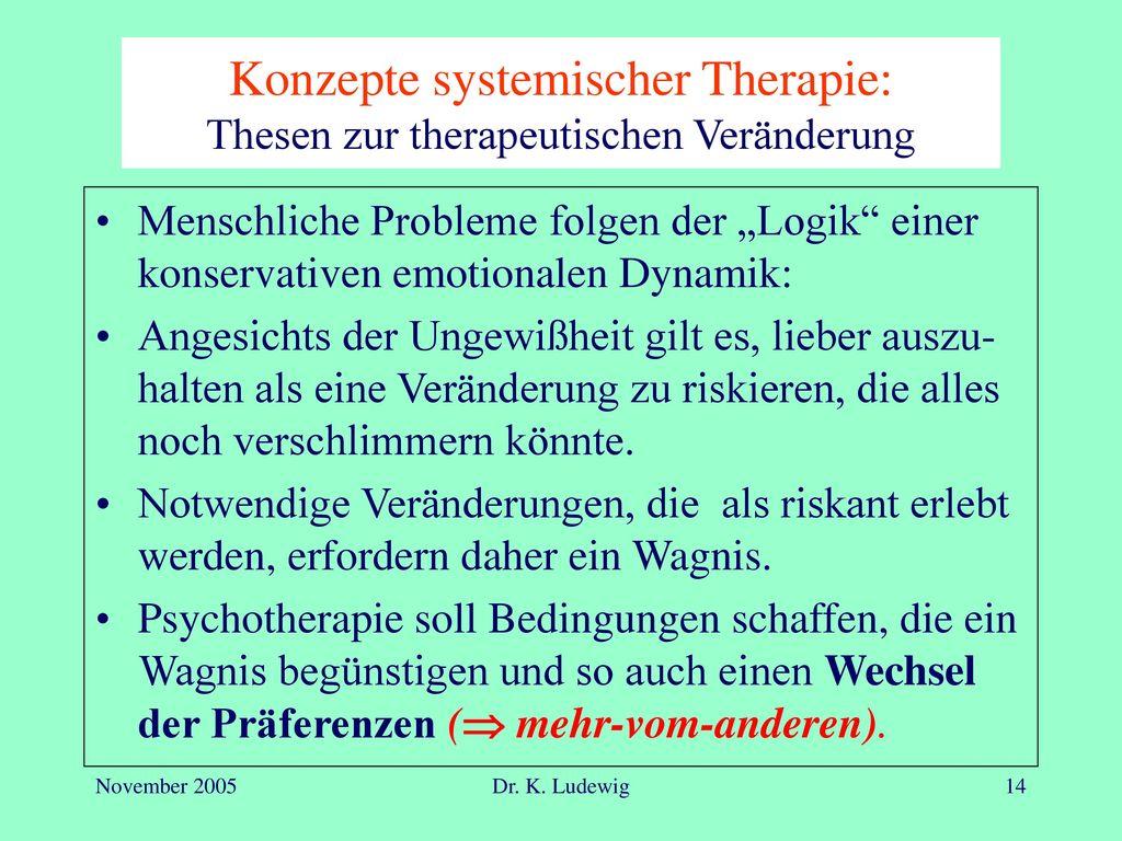 Konzepte systemischer Therapie: Thesen zur therapeutischen Veränderung