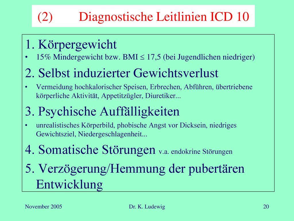 (2) Diagnostische Leitlinien ICD 10