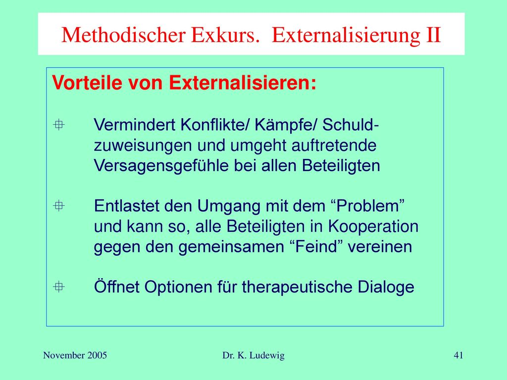 Methodischer Exkurs. Externalisierung II