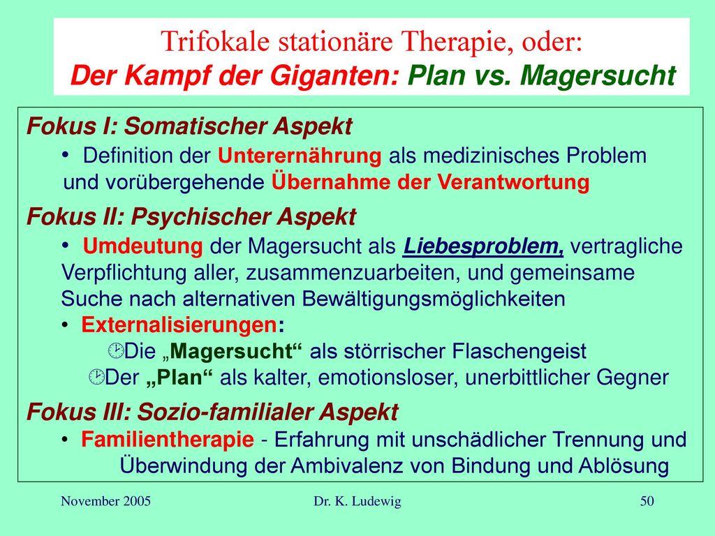 Trifokale stationäre Therapie, oder: Der Kampf der Giganten: Plan vs