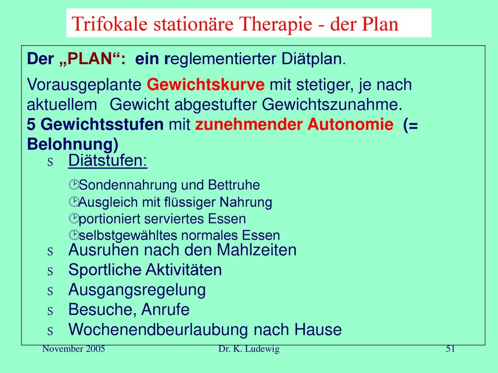 Trifokale stationäre Therapie - der Plan