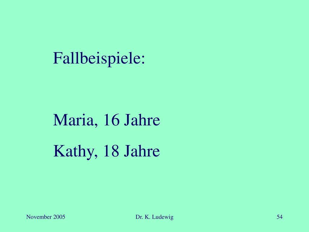 Fallbeispiele: Maria, 16 Jahre Kathy, 18 Jahre November 2005