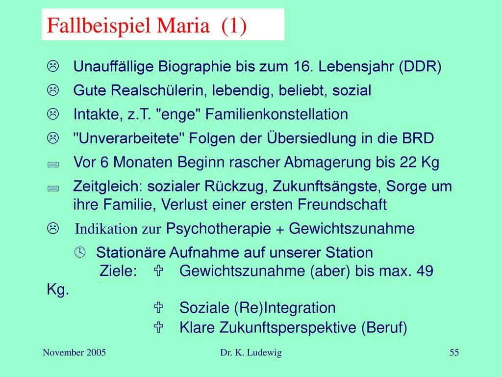 Fallbeispiel Maria (1)  Klare Zukunftsperspektive (Beruf)