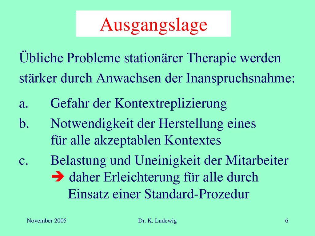 Ausgangslage Übliche Probleme stationärer Therapie werden