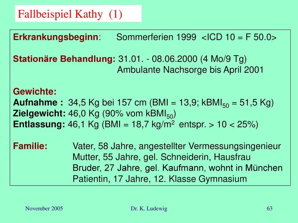 Fallbeispiel Kathy (1) Erkrankungsbeginn: Sommerferien 1999 <ICD 10 = F 50.0> Stationäre Behandlung: 31.01. - 08.06.2000 (4 Mo/9 Tg)