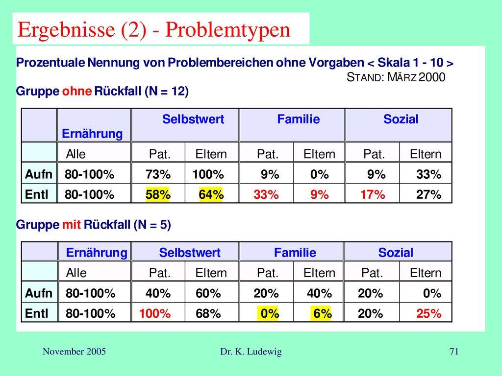 Ergebnisse (2) - Problemtypen