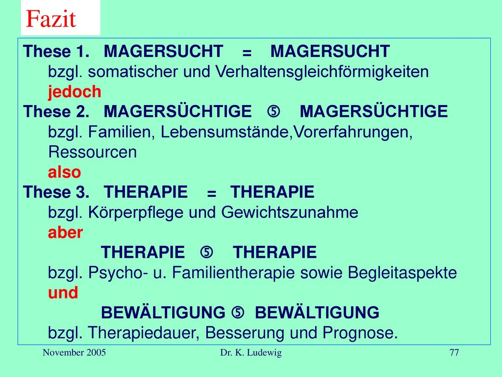 Fazit These 1. MAGERSUCHT = MAGERSUCHT
